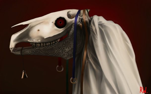 Mari Lwyd painting by Rhŷn Williams - Globetrotting horse riding holidays
