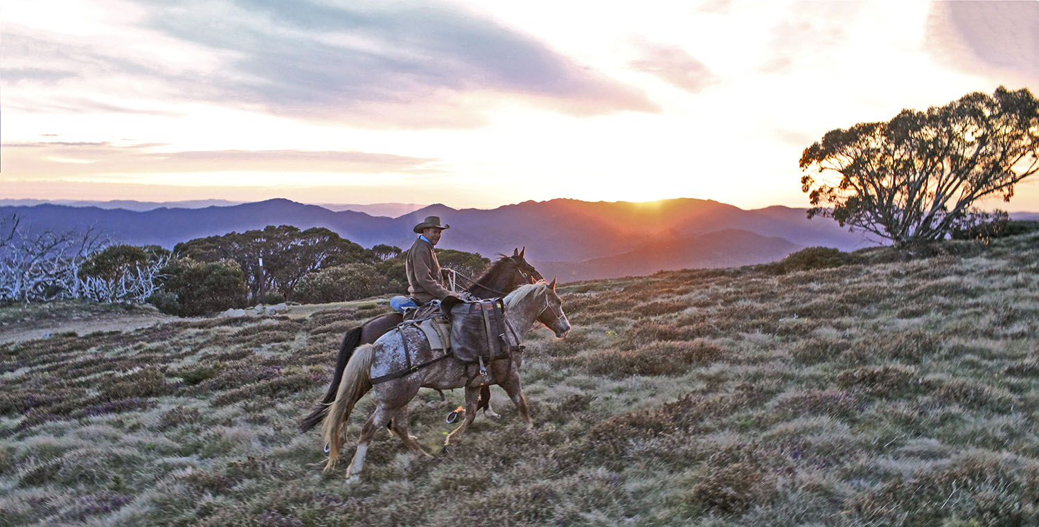 man on mountain on horse riding holiday craig's hut australia by globetrotting