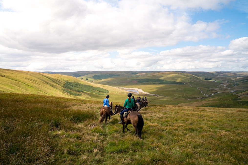 riders on green hills horse riding holiday in Wales by globetrotting