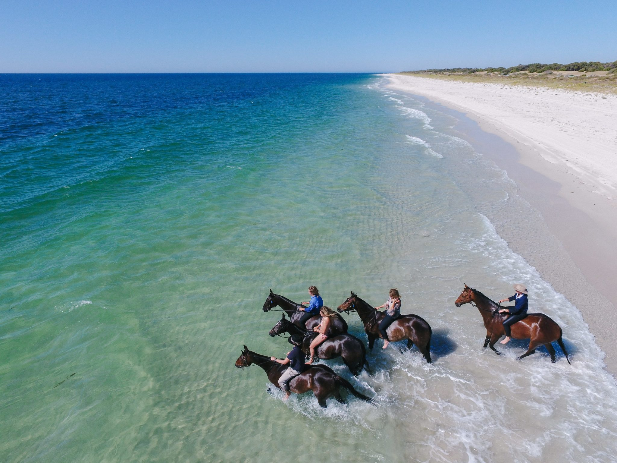 horses and riders swimming in sea horse riding holiday margaret river globetrotting