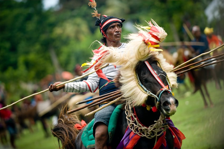 The Pasola ride, Sumba