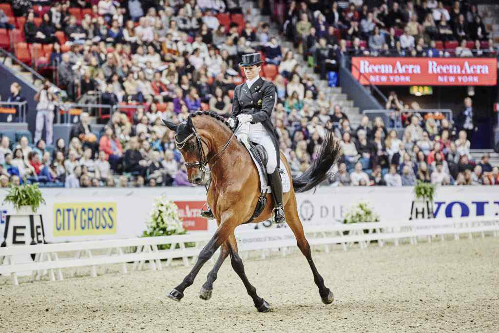 Equestrian - Reem Acra FEI World Cupª Dressage Final in Gothenburg (SWE) date 25/03/2016 - 29/03/2016. Legs crossed: Australia's Lyndal Oatley and Sandro Boy 9 performing in today's Reem Acra FEI World Cupª Dressage Final in Gothenburg (SWE) where they finished 11th. Credit: FEI/Liz Gregg/Pool Pic Disclaimer: Free of charge for editorial use. For further information, contact Shannon Gibbons +41 78 750 61 46, shannon.gibbons@fei.org